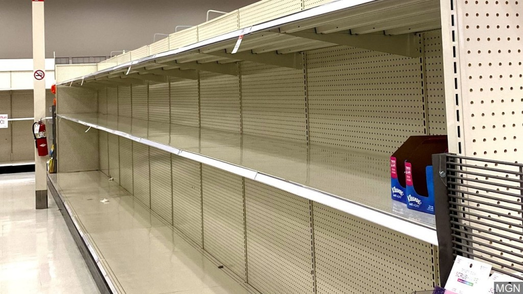 PHOTO: Empty Toilet paper shelves at Target