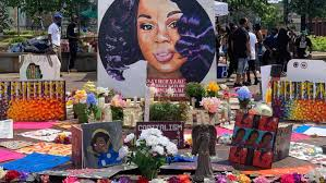 Makeshift memorial for Breonna Taylor at Jefferson Square Park in downtown Louisville.  Courtesy:  WHAS 11