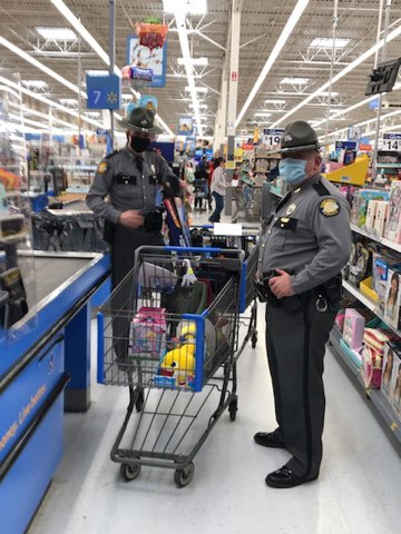 KSP Post 13 in Hazard holds annual 'Shop with a Trooper' at Walmart in Hazard on 12-21-20.  Gifts delivered to childrens schools or homes due to coronavirus
