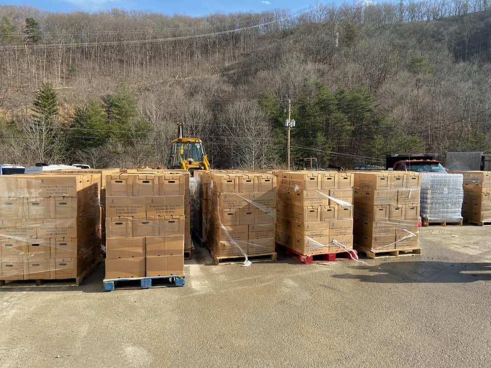 Bottled water brought-in by City of Hazard Utilities after several leaks in Perry County the week after Christmas led to water outages and boil water advisories