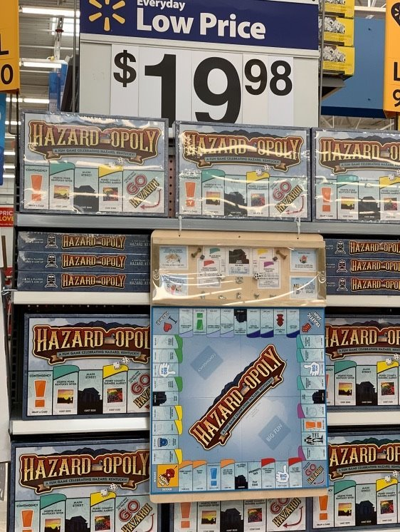 The board game 'Hazard-Opoly' on sale in toy section of Walmart in Hazard