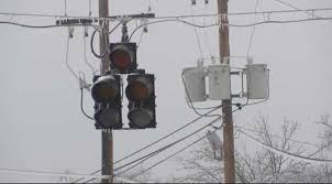 dark traffic signal in winter due to power outage (generic)