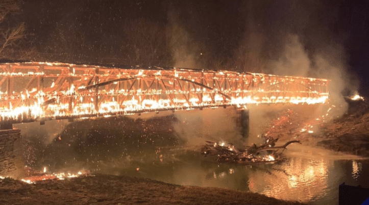 Mt. Zion Covered Bridge in Washington County catches fire 3-9-21.  It is 150 years old