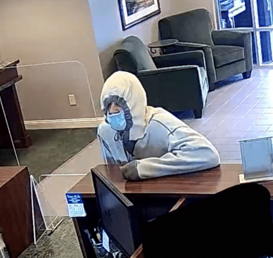 Security camera image of bank robbery suspect at Planters Bank in Providence 4-5-21