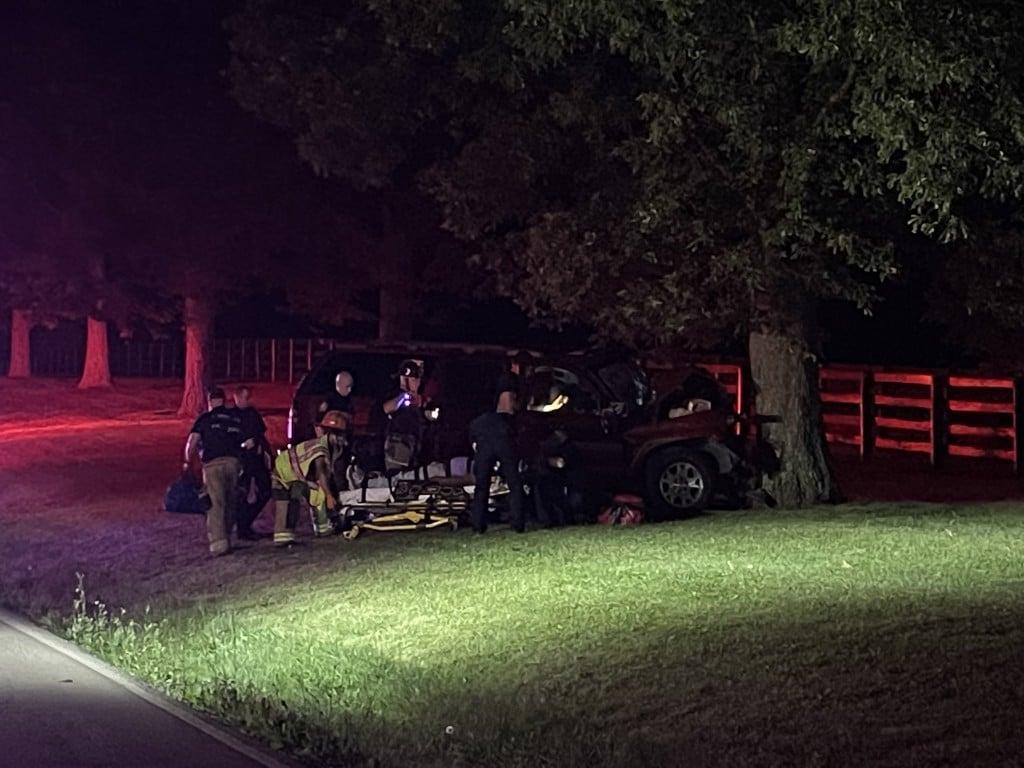 SUV hits tree on Man O War at Blackford Parkway...driver hurt...man taken to hospital...lone occupant 7-13-21