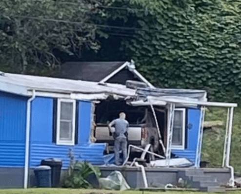Pickup truck crashes through front of house in the Combs area of Perry County 7-26-21