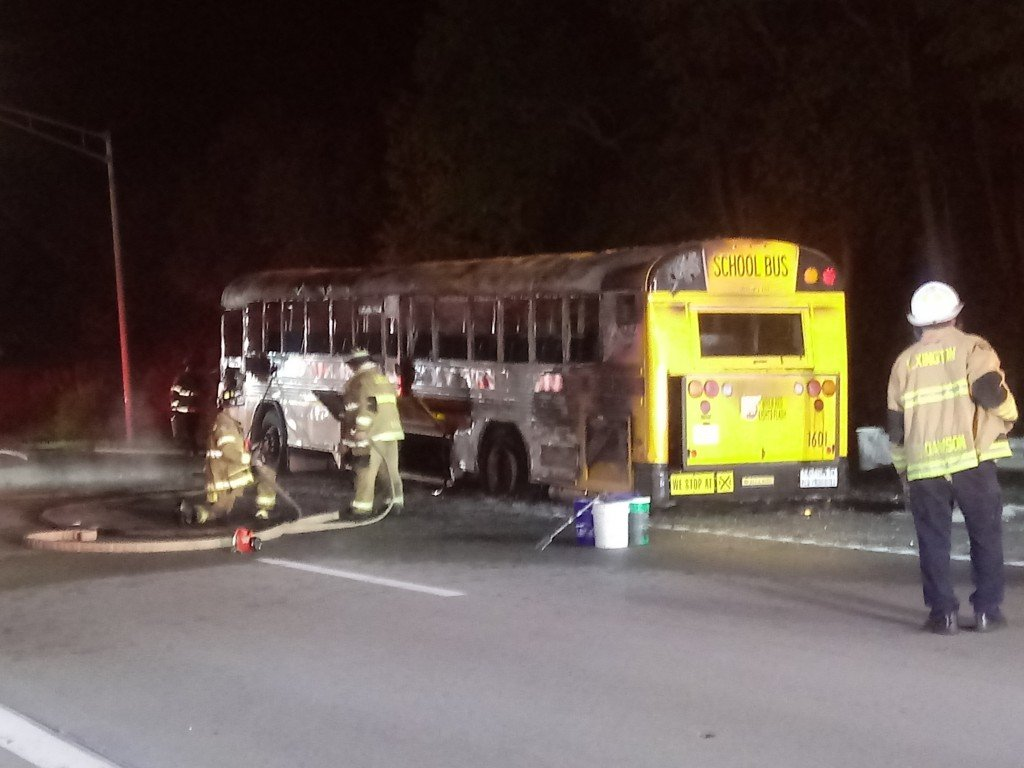 Scott County High School football team bus catches fire heading home from loss at Frederick Douglass 9-24-21 at on NB I-75 at the northern split