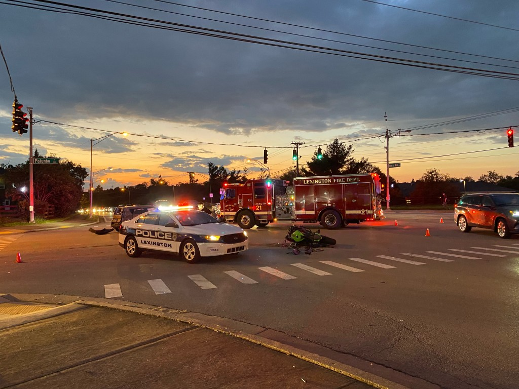 Motorcycle collides with car at Man O War and Palumbo in Lexington 10-8-21.  No serious injuries