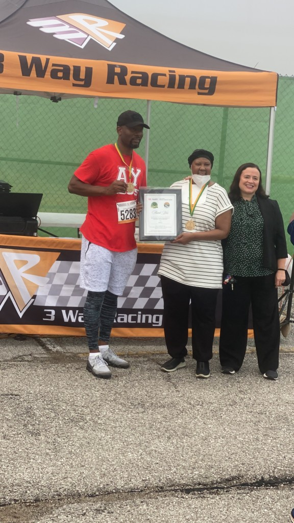Chrystal Woodard was honored at Kentucky State University's annual breast cancer walk.