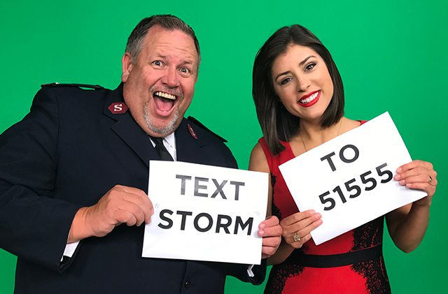 Donate $10 to the Salvation Army by Texting the word STORM to 51555
