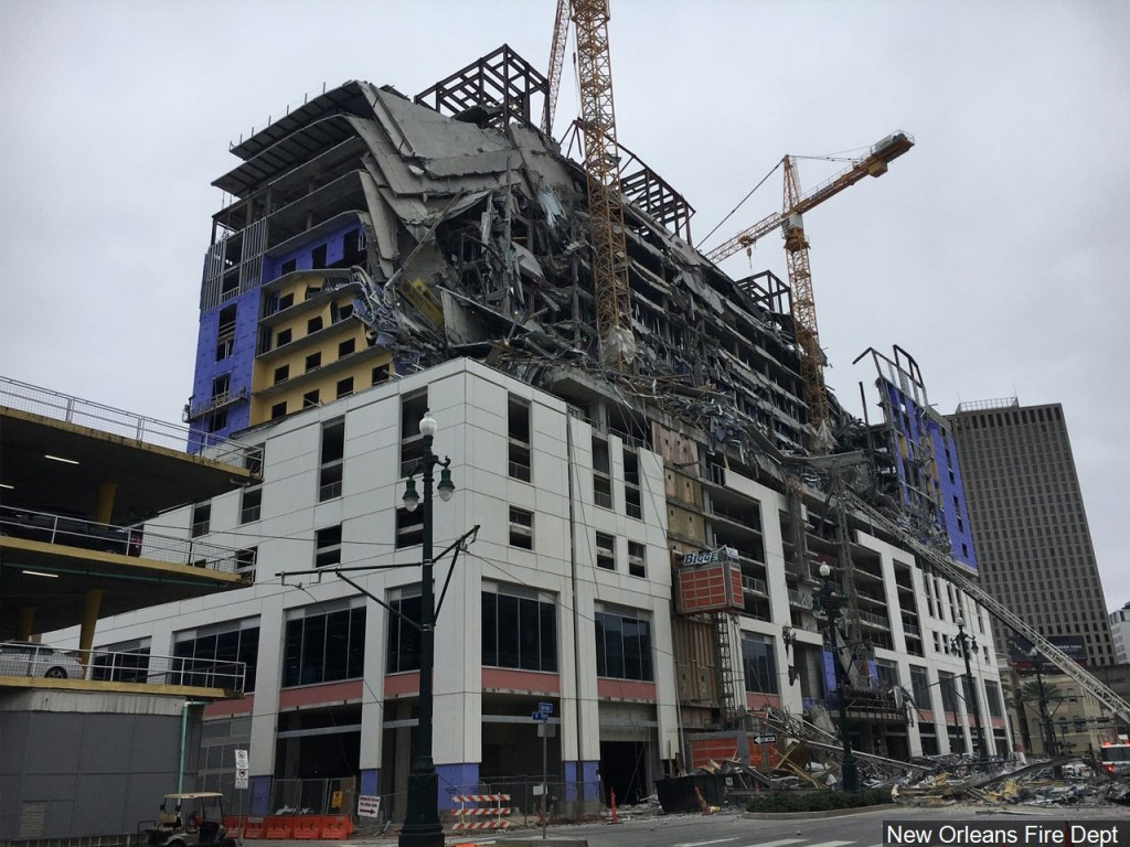 The Hard Rock hotel under construction in downtown New Orleans collapses. Photo: New Orleans Fire Department.