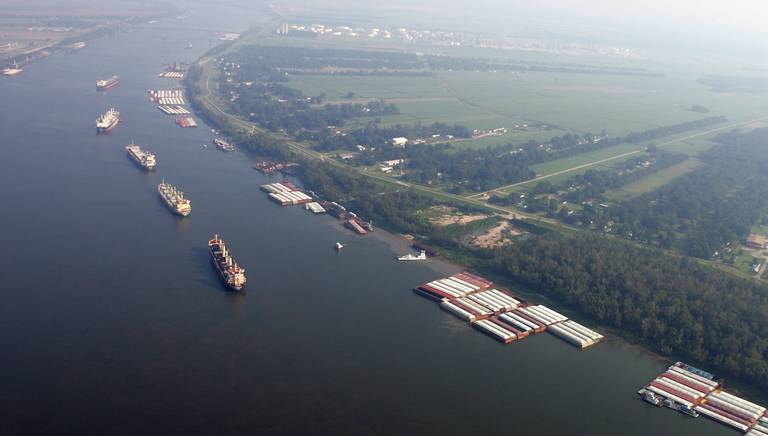 This Friday 2005 file photo shows ships and cargo containers along the Mississippi River in this aerial view