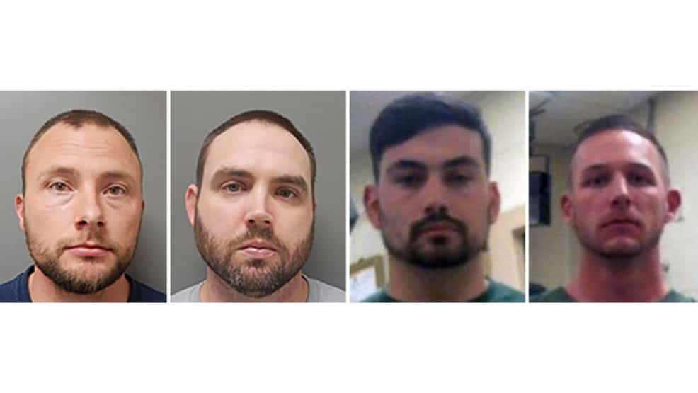 This combination of photos provided by the Ouachita Correctional Center and Franklin Parish Sheriff's Office shows Louisiana State Police Troopers Jacob Brown