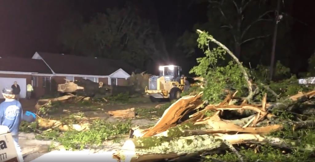 Storm damage in Calhoun City on Sunday