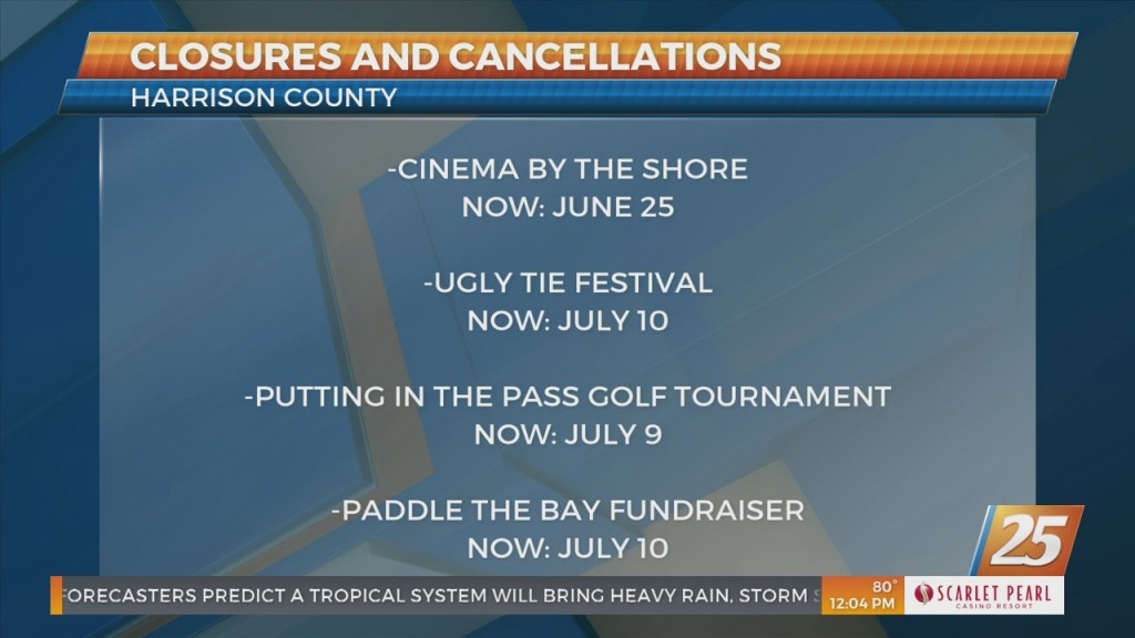 Closures And Cancellations Around The Coast