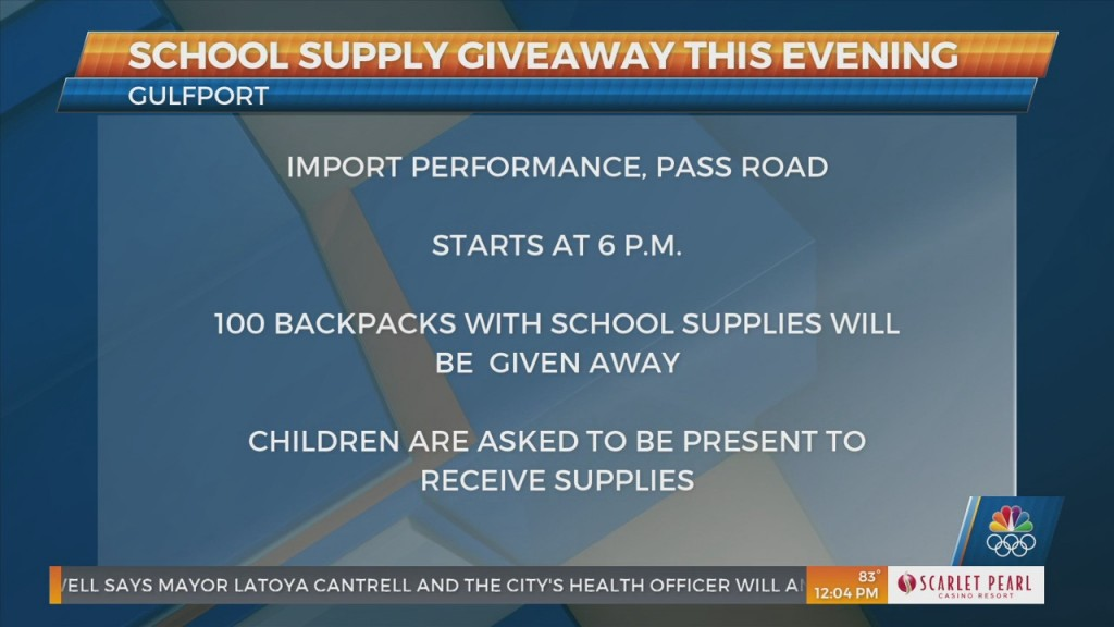 School Supply Giveaway In Gulfport This Evening