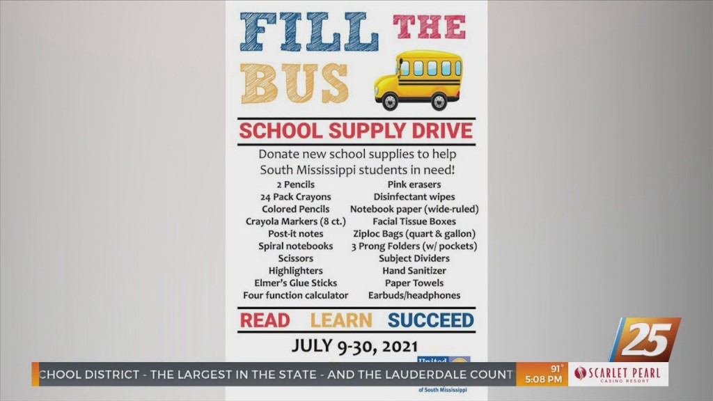 United Way Of South Mississippi Holds 'fill The Bus' Supply Drive