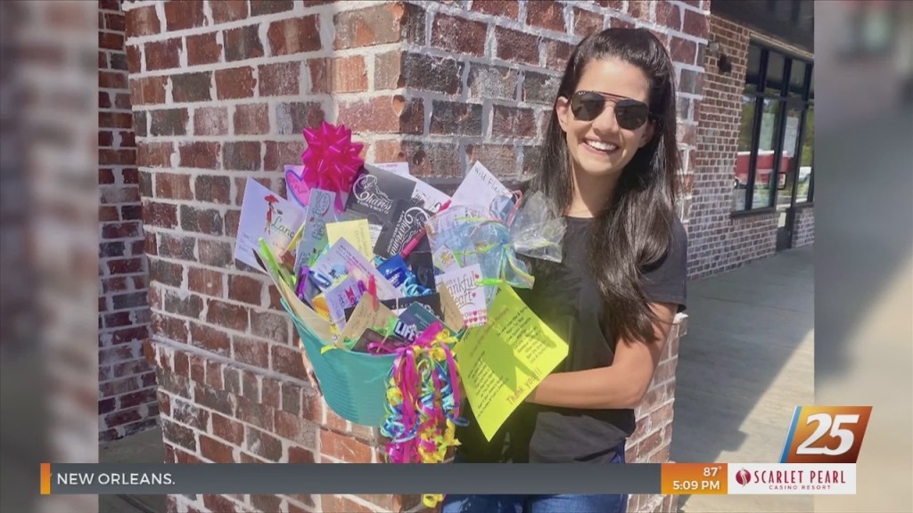 Local Business Owner Making Gift Baskets For Nurses
