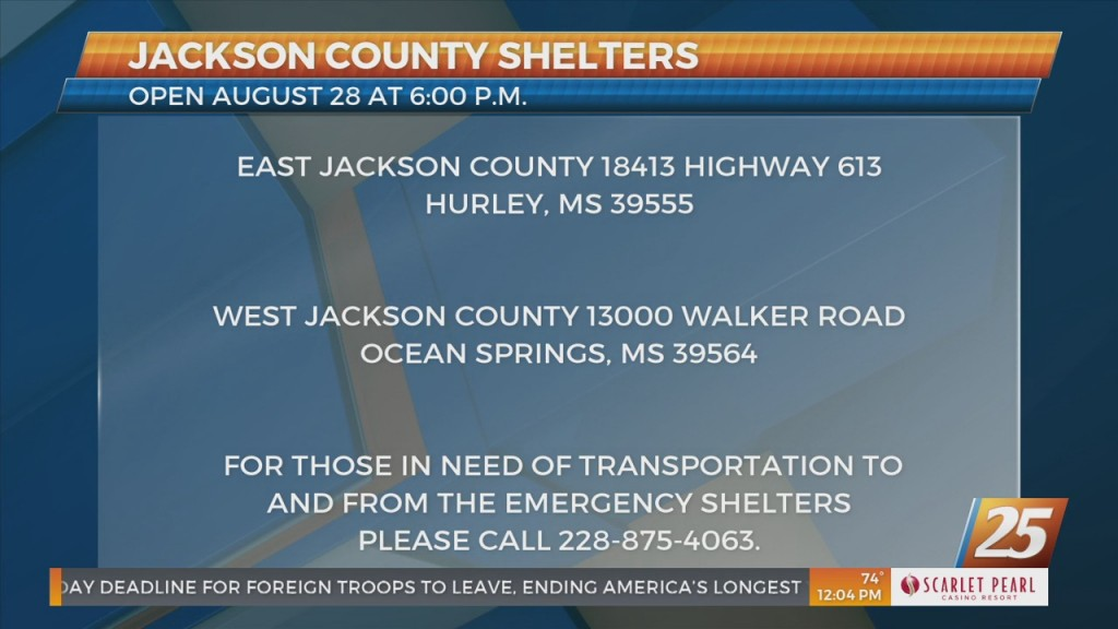 Jackson County Shelters Opening August 28th