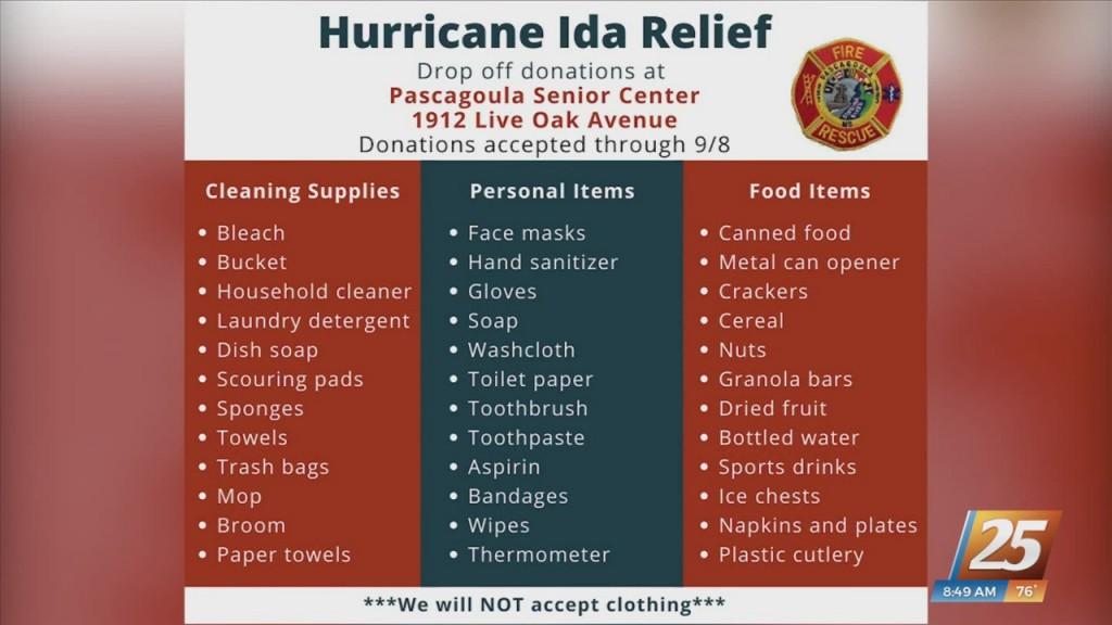 Pascagoula Fire Department Hosting Hurricane Ida Supply Drive