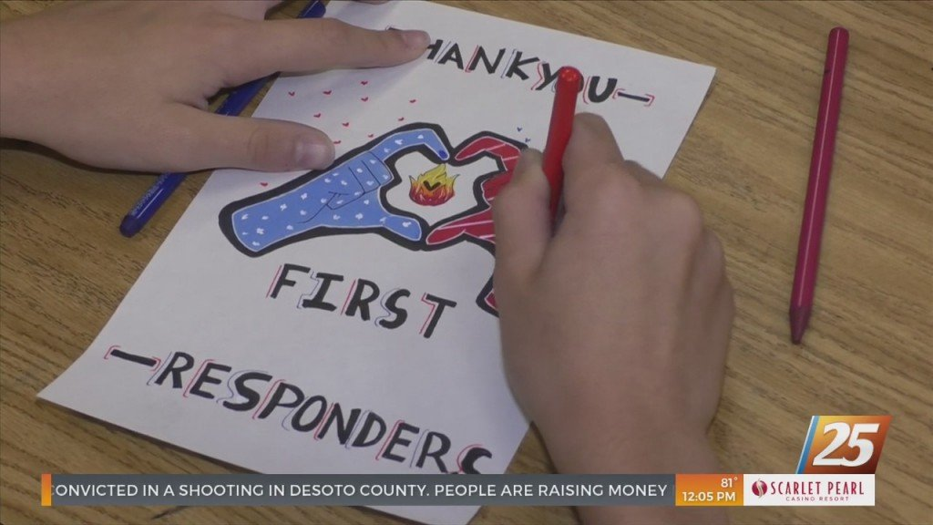 Woolmarket Middle School Students Making Cards For First Responders