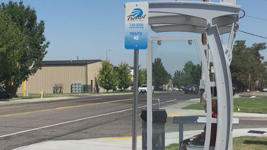 One of the newly installed bus stop shelters in front of the Tri-Tech Skills Center in Kennewick.