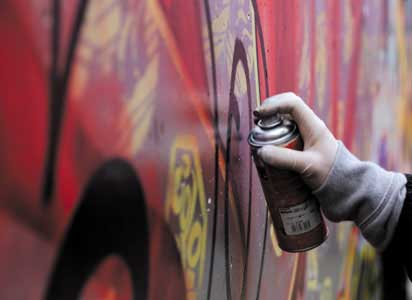 Hand painting graffiti