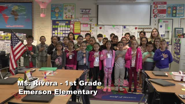 RAISE THE FLAG - Ms. Rivera's 1st grade class at Emerson Elementary