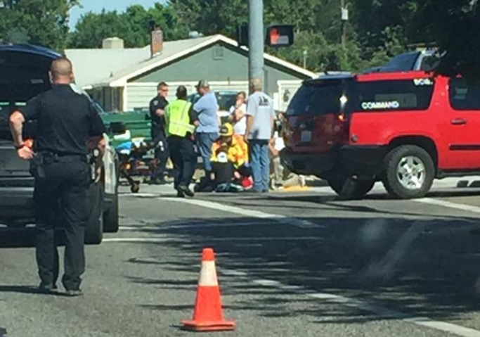 Bike vs. vehicle collision at 4th and Morain in Kennewick