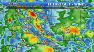 Winds up to 35 MPH Tuesday
