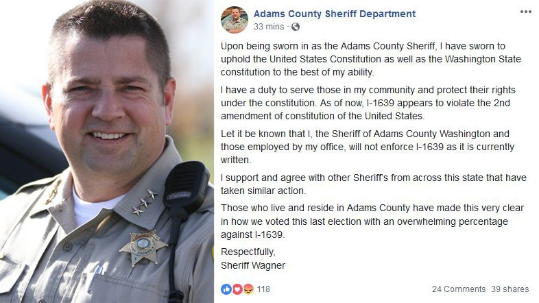 Adams County Sheriff says he won't enforce I-1639