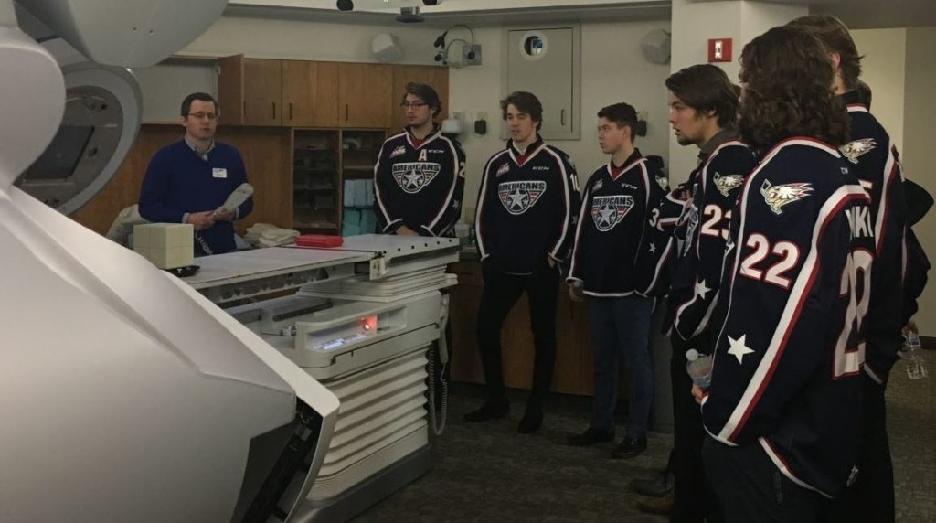 Tri-City Americans tour cancer center ahead of breast cancer awareness game