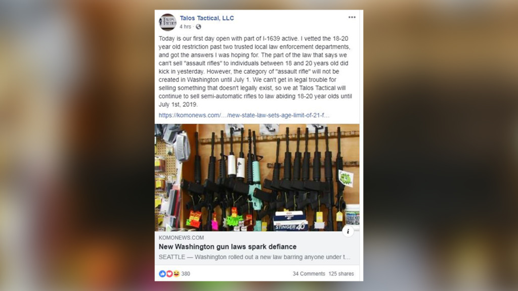 West Richland gun shop continues selling semi-automatic rifles to citizens under 21