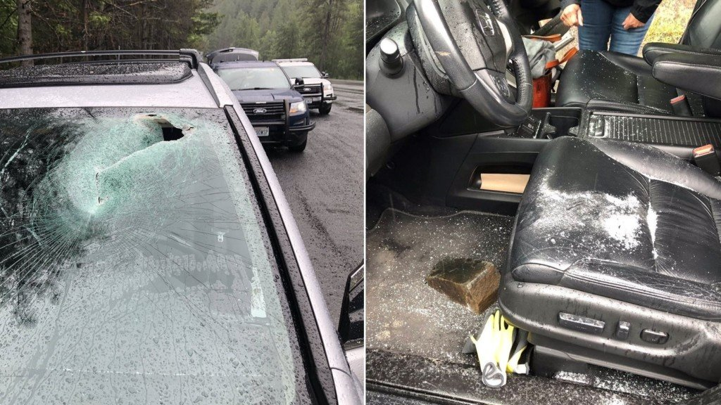 Falling rock on Blewett Pass narrowly misses driver's head