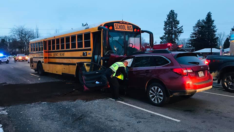 Children unharmed after car collides with school bus in Ellensburg