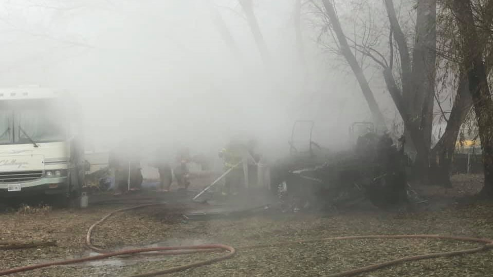 RV destroyed in fire this morning, no injuries reported