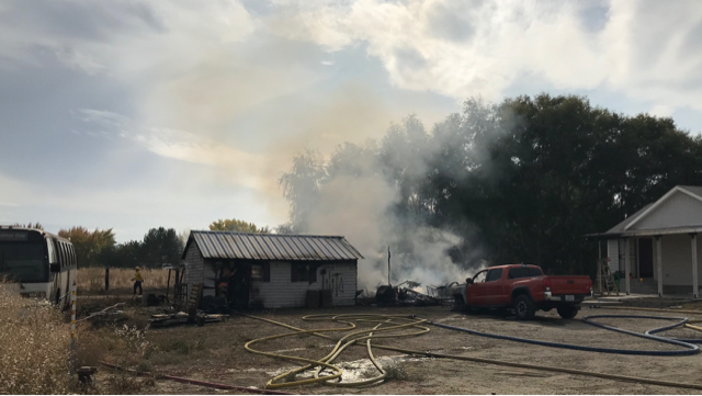 Fire destroys garage, two cars at a Finley home