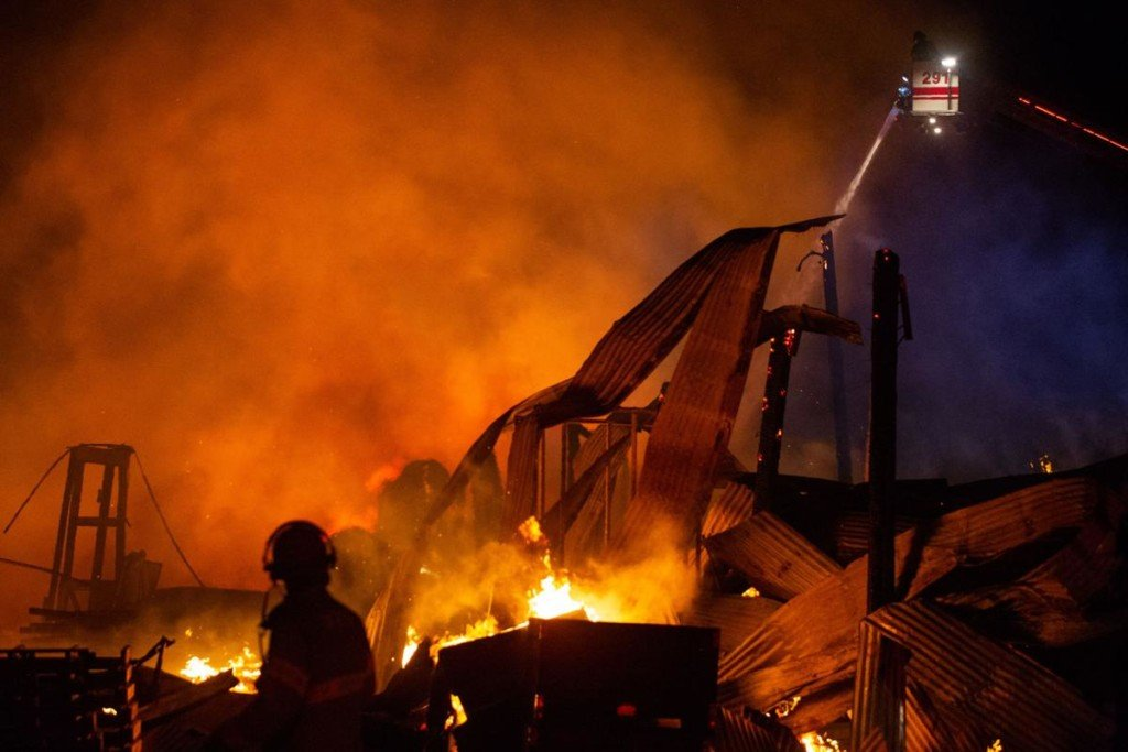 Crews continue hours-long battle with fire at Universal Forest Products