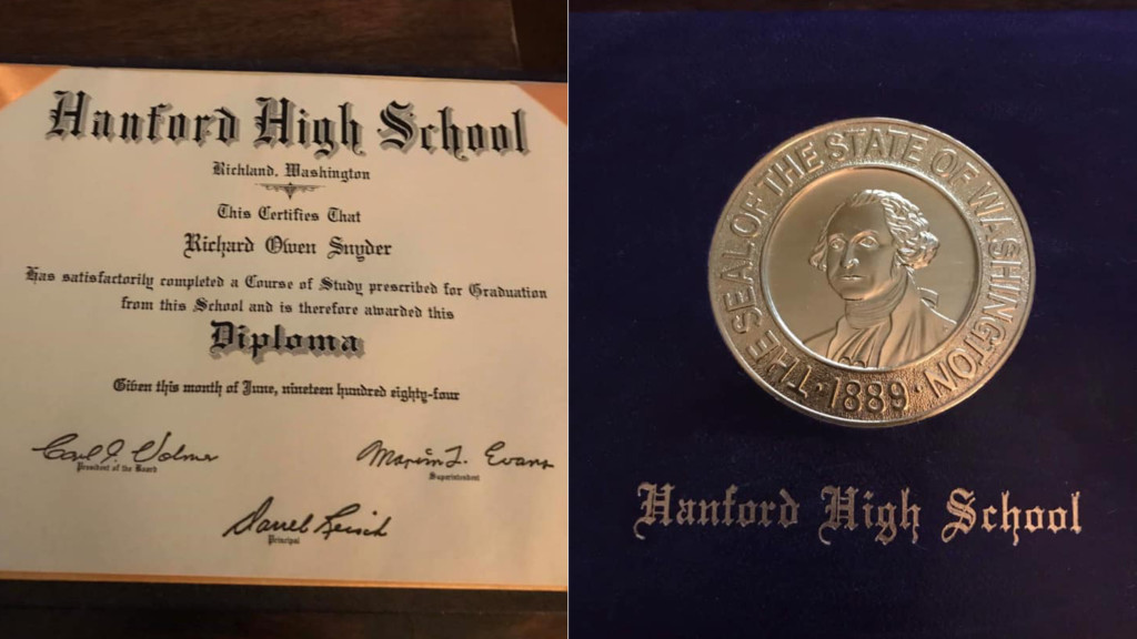 Man wants to return 1984 Hanford High School diploma found in trunk of used car