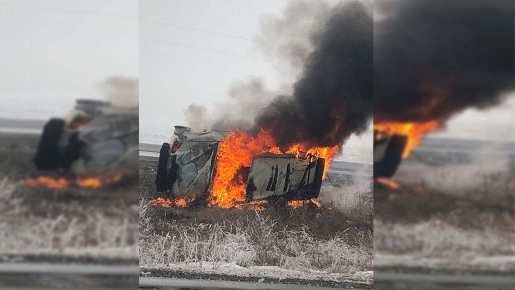 No one injured when car flips, catches fire on I-90