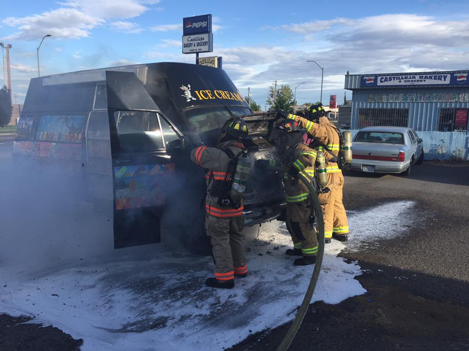 Hot engine leads to ice cream truck engulfed in flames