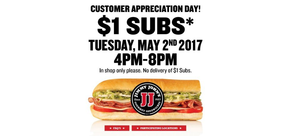Jimmy John's offering $1 subs Tuesday