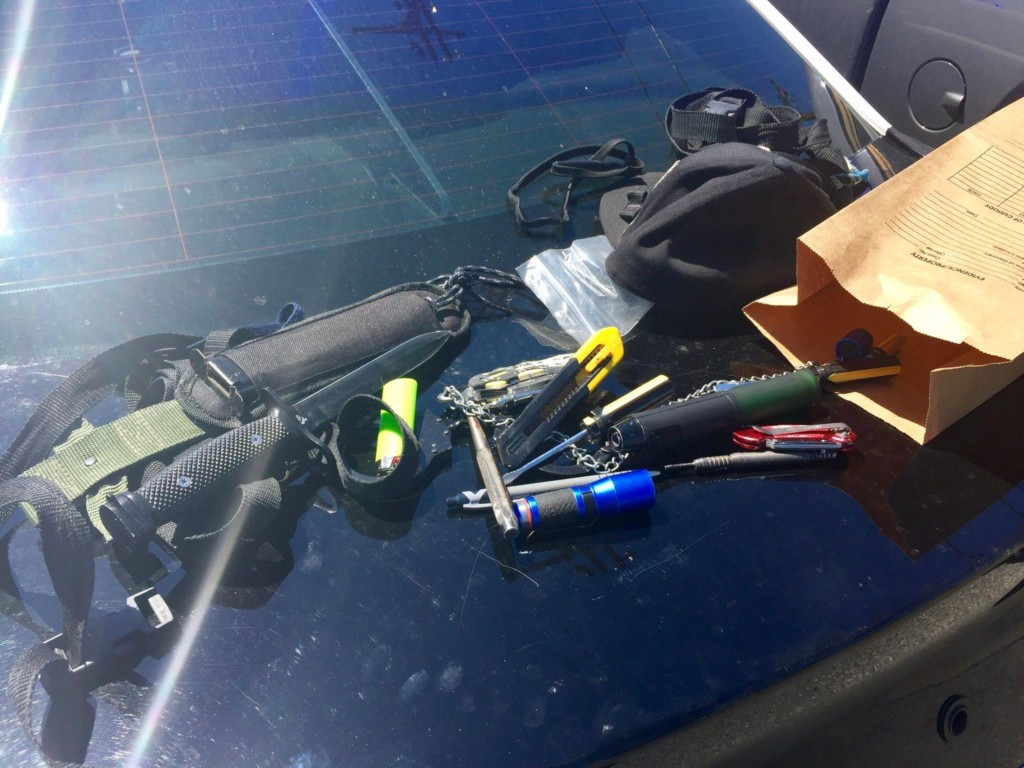 Transient man caught illegally riding dirt bike with a weapon
