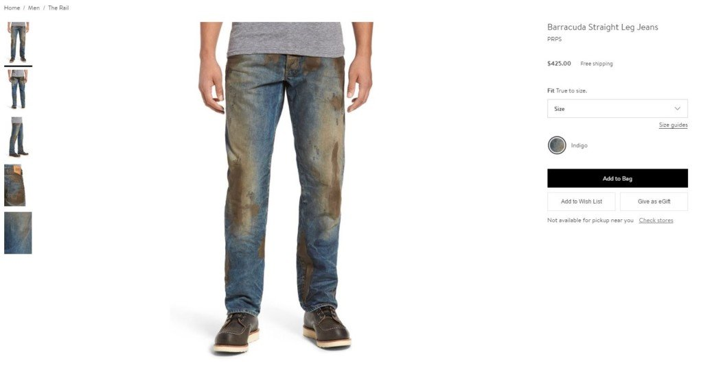 Nordstrom sells mud covered jeans for $425