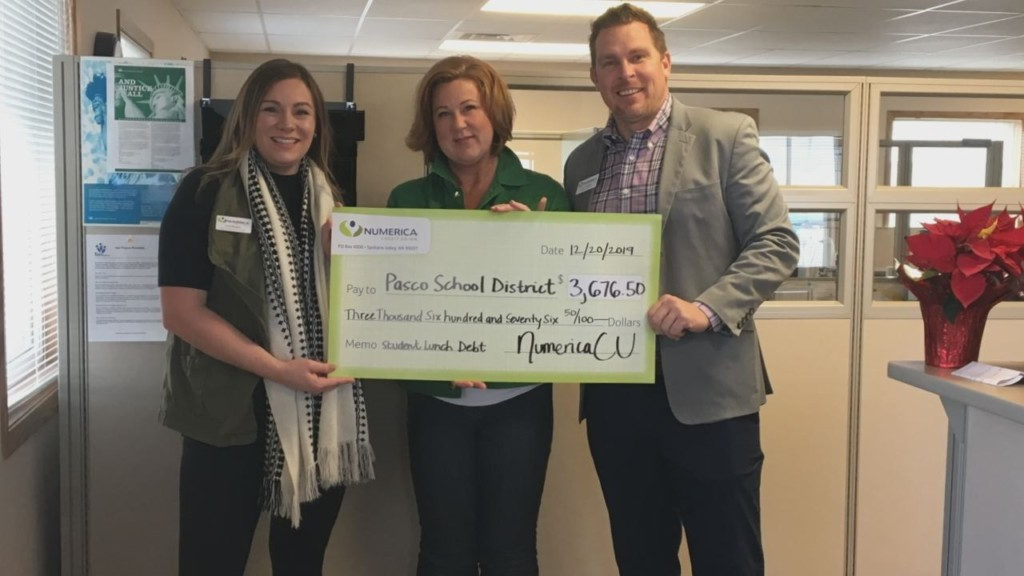 Numerica Credit Union pays off $25,000 in student lunch debt for Washington, Idaho schools