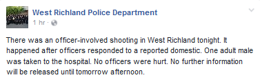 West Richland Officer involved shooting