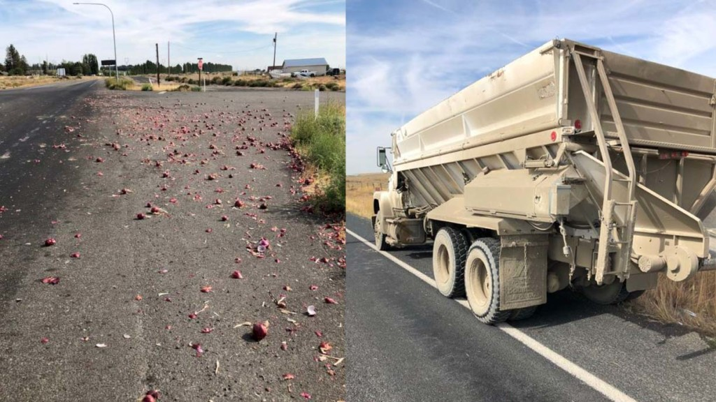 WSP: Onion truck with no brakes spills in Paterson