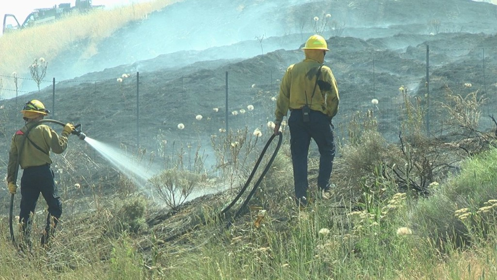Crews battle fire on I-82 East outside of Prosser
