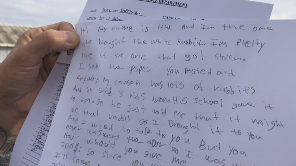 Woman says she found a ransom note from the boy who returned her rabbit