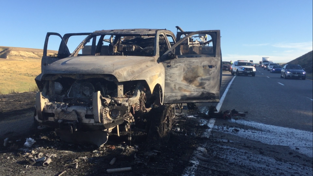 Fire truck engine explodes, causing brush fire on I-82